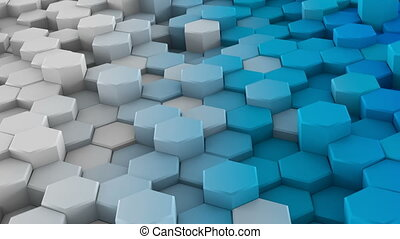 White blue extruded hexagons 3D render loopable animation