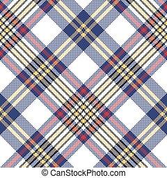 White blue pixel check seamless plaid pattern. Vector ...