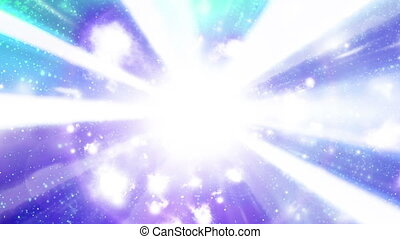 White blue purple teal cosmic looping particle abstract background