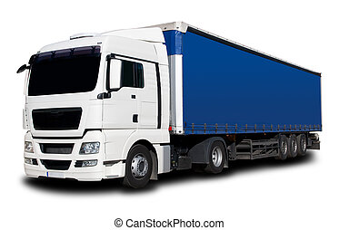 Truck - White Blue Semi Truck with Isolated Background