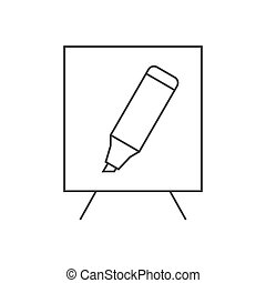 White board and marker illustration - Training outline icon....