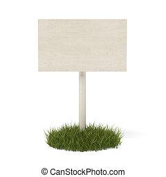 White board in green grass