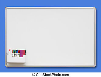 White board, isolated - White board with colored markers,...