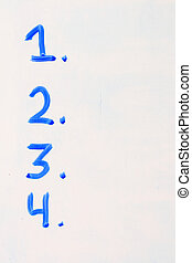 white board list numbers