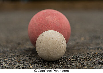 White Bocce Ball with Red Ball Centered