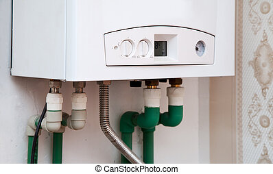 white boiler on the wall
