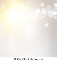 White bokeh background with sun beam at left side corner of image.