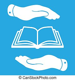 white book icon in flat hands isolated on blue background- vecto