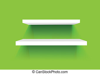 White Book Shelves on a green painted wall. Vector background.