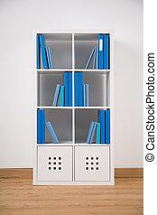 White bookcase in teen bedroom