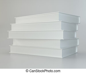 white books on gray background. 3d rendering