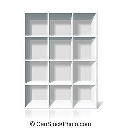 Vector illustration of a white bookshelf.