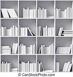 white bookshelves  (illustrated concept)