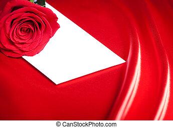 white boríték, és, piros rózsa, felett, elvont, selyem, háttér