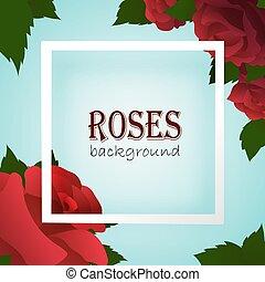 White border frame on blue background with roses
