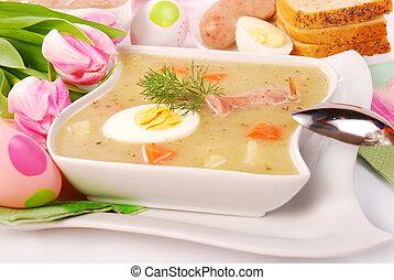 white borscht for easter - white borscht with eggs and ...