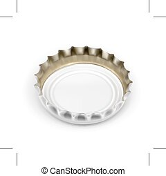 White bottle cap, isolated on white background