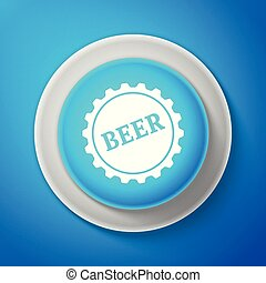 White Bottle cap with beer word icon isolated on blue background. Circle blue button with white line. Vector Illustration