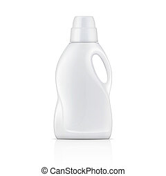 White plastic bottle for liquid laundry detergent or cleaning agent or bleach or fabric softener. Packaging collection. Vector illustration.