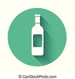 White Bottle of wine icon isolated with long shadow. Green circle button. Vector Illustration