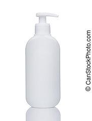 white bottle with reflection isolated on  background