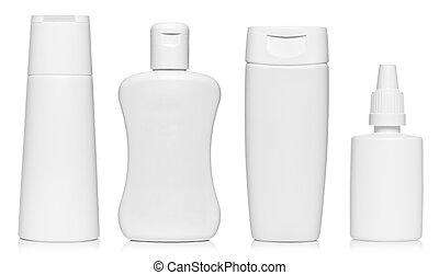 White bottles isolated on white