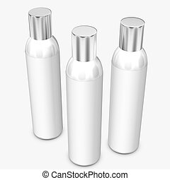 White bottles on background.3D Rendering