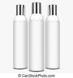 White bottles on background.3D Rendering