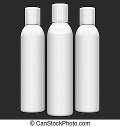 White bottles on black background. Wireframe 3D Rendering