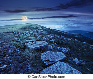 white boulders on the hillside at night - landscape with...