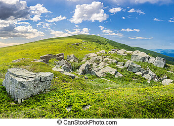 white boulders on the hillside - composit landscape with...