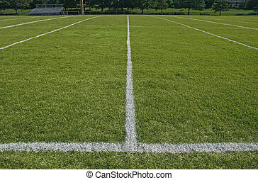 White boundary lines of American football playing field.