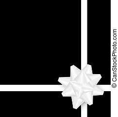 White bow cross ribbon on black background