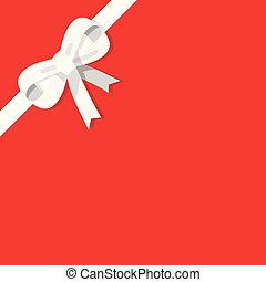 White bow isolated on red background