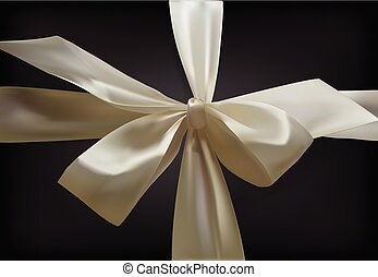 White bow on a black background. Bow of the summer. The ribbon tied in a bow. Vector banner. Realistic 3D vector object.