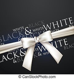 white bow on black background