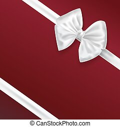 white bow ribbon decoration on red background. vector illustration