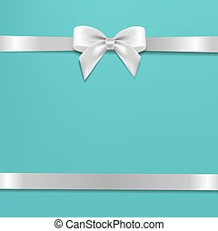 White Bow With Mint Poster