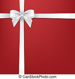 White Bow With Red Background