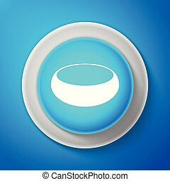White Bowl icon isolated on blue background. Circle blue button with white line. Vector Illustration