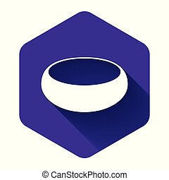 White Bowl icon isolated with long shadow. Purple hexagon button. Vector Illustration