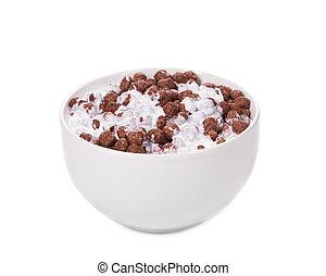 White bowl of corn flakes.