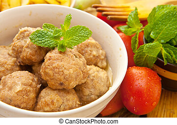 meat balls - white bowl with beef meat balls with mint ...