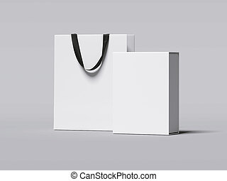 White box and luxury shopping bag. 3d rendering
