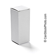 white box container package - close up of a white box on...