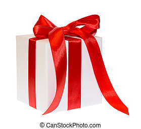 white  box gift ribbon bow