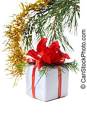 white box gift with red bow