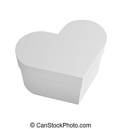 White box in heart shape isolated on white background Realistic vector illustration