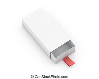 White box mock up isolated on white background. 3D