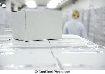 White box package at warehouse ready for your message or...